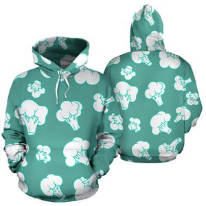 Broccoli Pattern Green background Men Women Pullover Hoodie