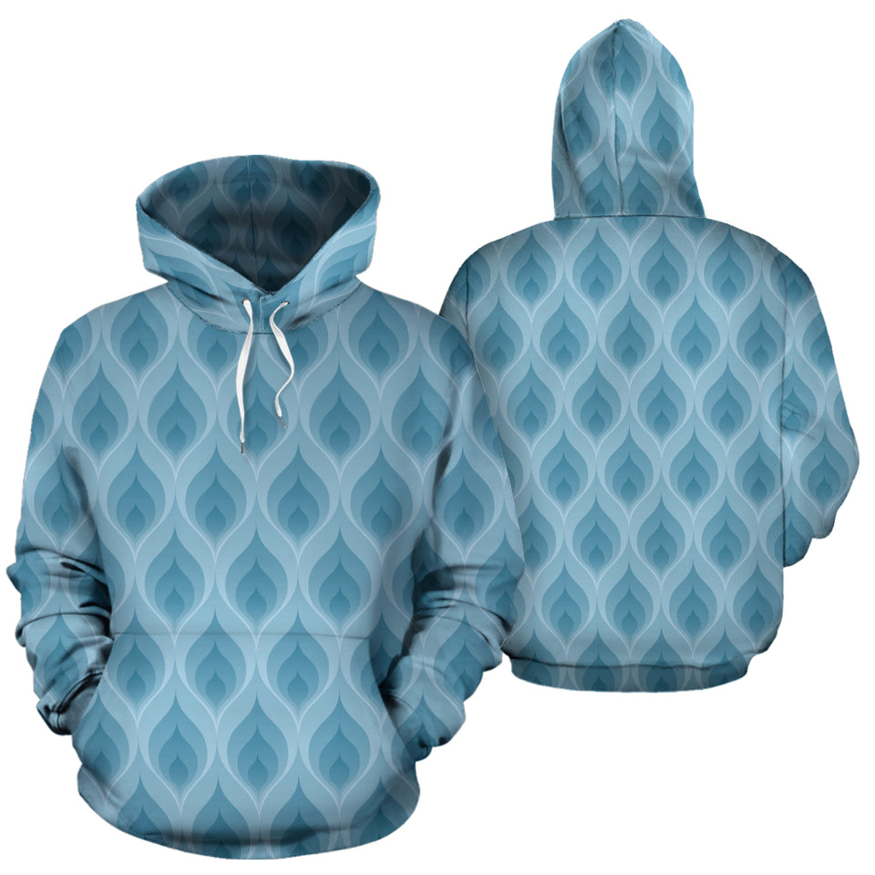 Blue Flame Fire Pattern Men Women Pullover Hoodie