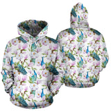 Peacock Pink Flower Pattern Men Women Pullover Hoodie