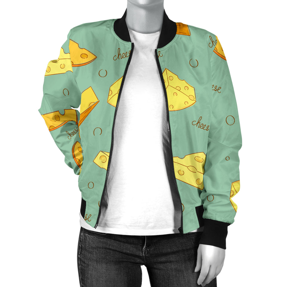 Cheese Pattern Background Women Bomber Jacket
