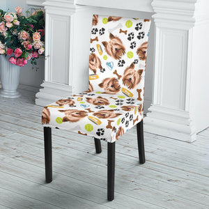 Yorkshire Terrier Pattern Print Design 05 Dining Chair Slipcover