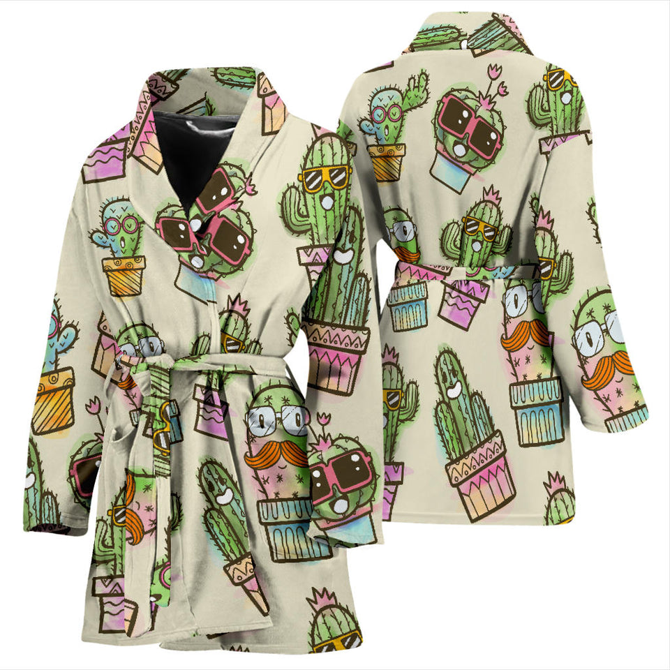 Cute Cactus Pattern Women Bathrobe