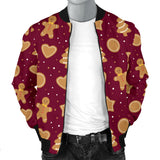 Christmas Ginger Cookie Pattern Background Men Bomber Jacket
