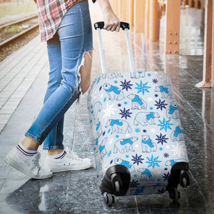 Polar Bear Pattern Blue Background Luggage Covers