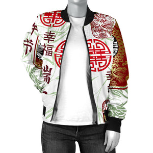 Dragon Pattern Happy Dragon Boat Festival Women Bomber Jacket
