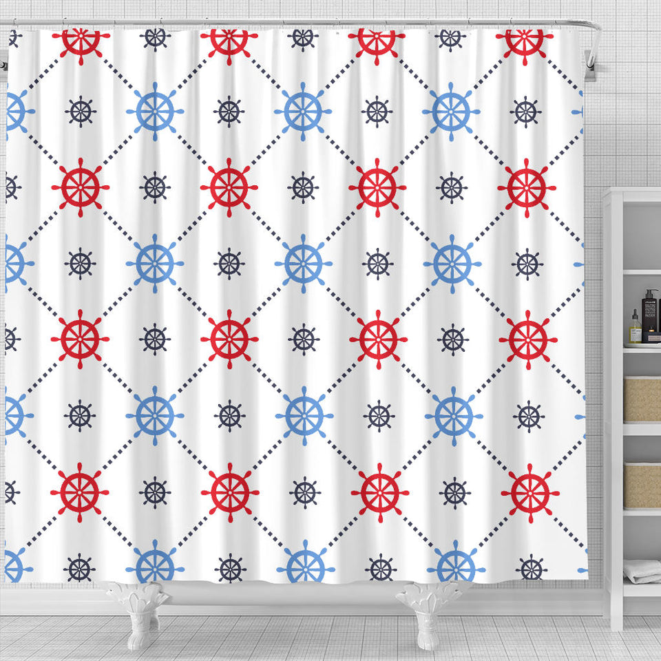 Nautical Steering Wheel Rudder Pattern Shower Curtain Fulfilled In US