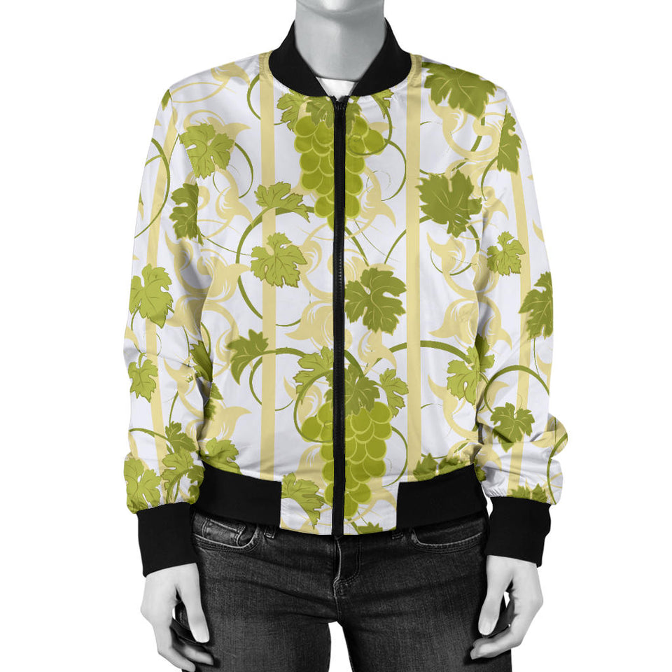 Grape Pattern Background Women Bomber Jacket