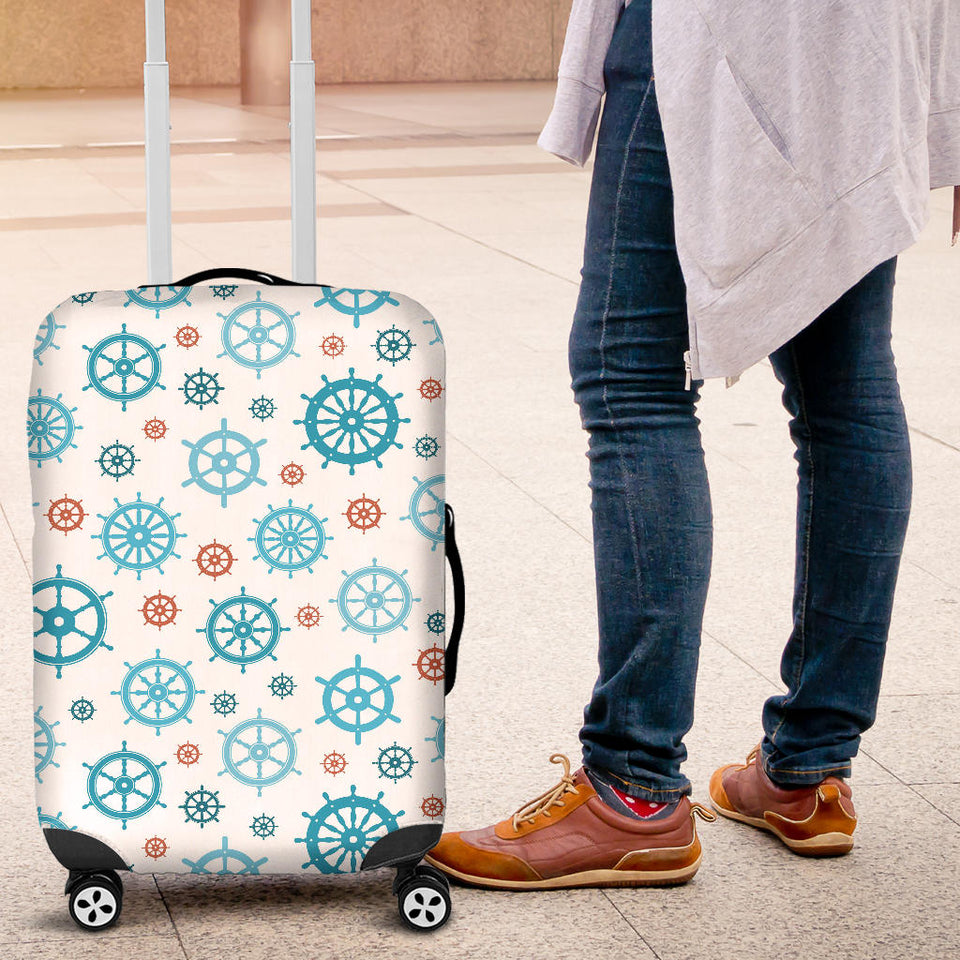 Nautical Steering Wheel Rudder Pattern Background Luggage Covers