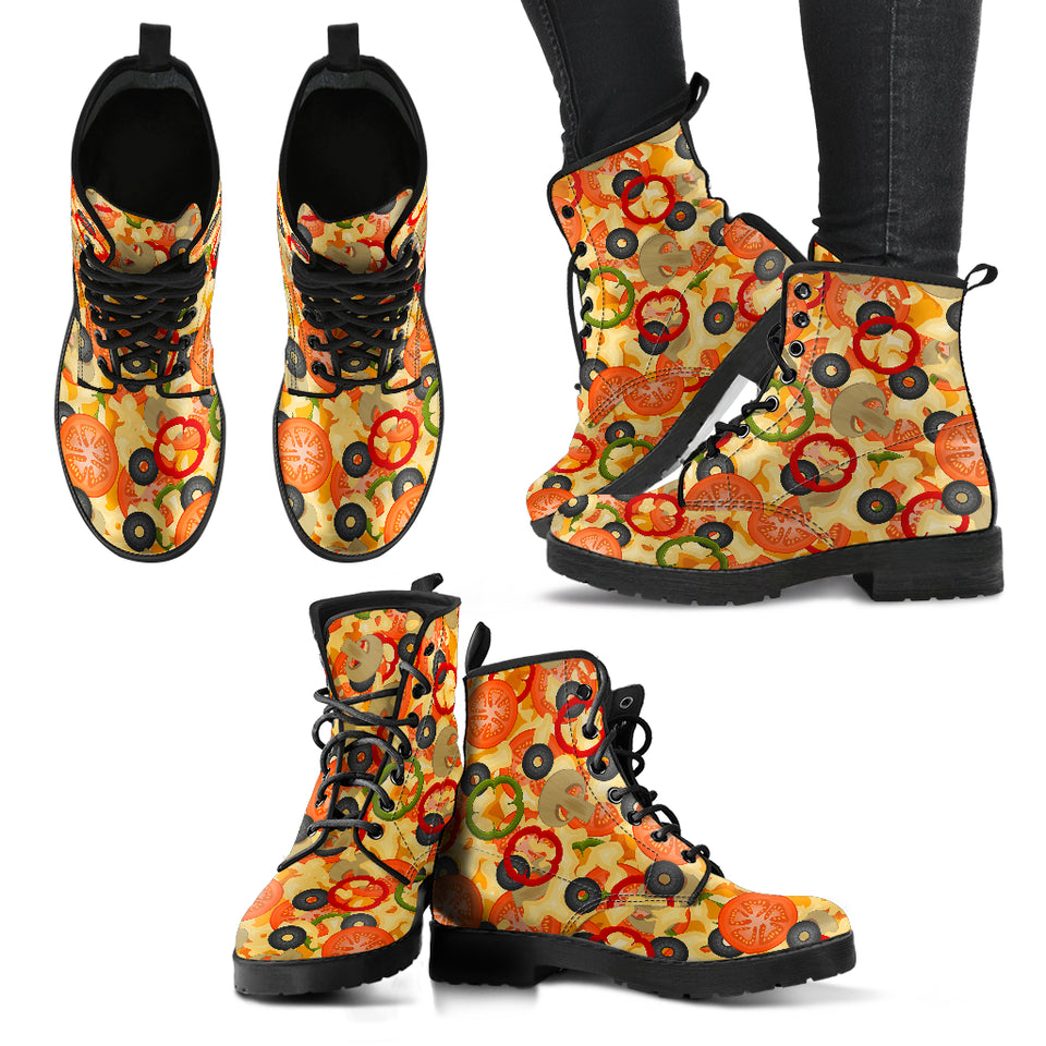 Pizza Texture Pattern Leather Boots