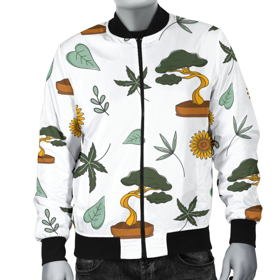 Bonsai Leaves Flower Pattern Men Bomber Jacket