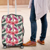 Pink Parrot Heliconia Pattern Luggage Covers