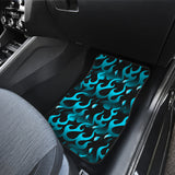 Blue Flame Fire Pattern Background Front Car Mats