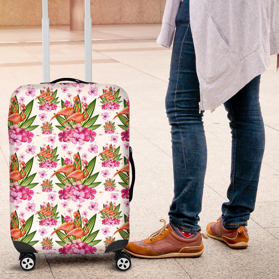 Flamingo Pink Hibiscus Pattern Luggage Covers