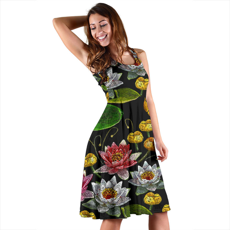 Lotus Waterlily Flower Pattern Background Sleeveless Midi Dress