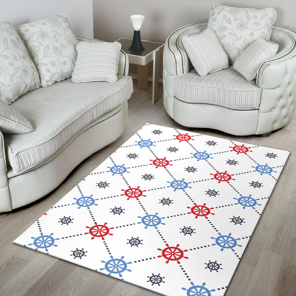 Nautical Steering Wheel Rudder Pattern Area Rug