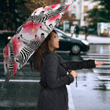 Zebra Red Hibiscus Pattern Umbrella
