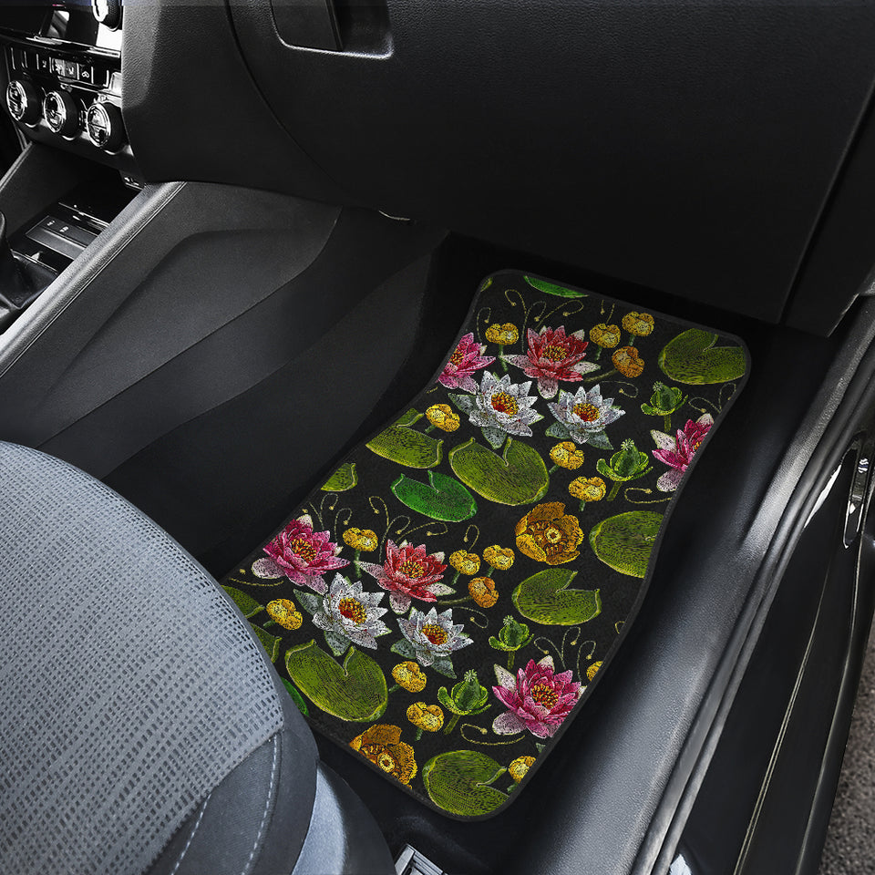 Lotus Waterlily Flower Pattern Background Front Car Mats