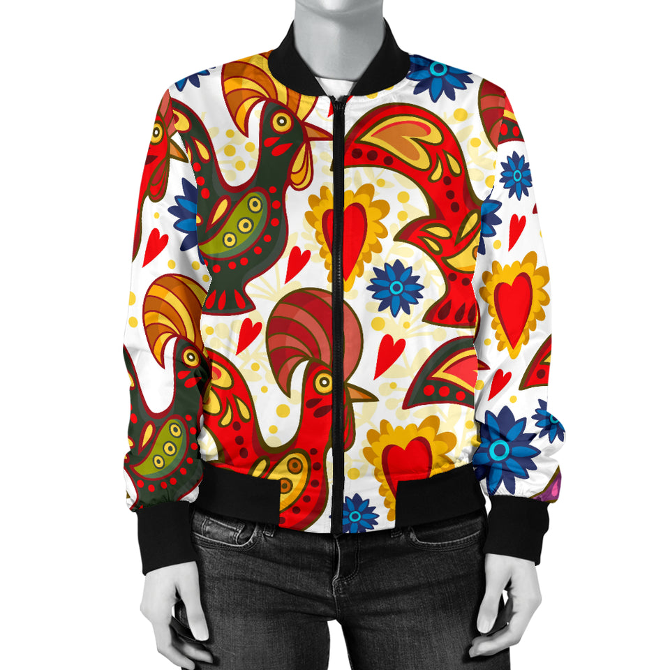 Colorful Rooster Chicken Guitar Pattern Women Bomber Jacket