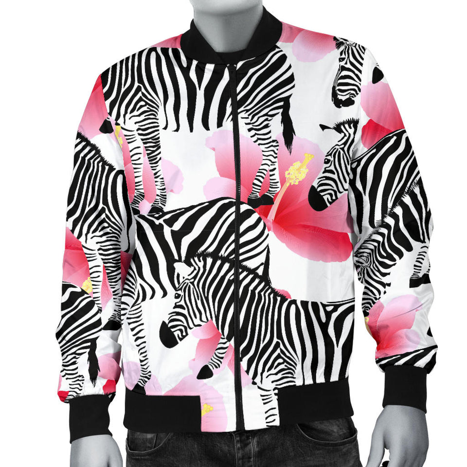Zebra Red Hibiscus Pattern Men Bomber Jacket