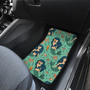 Mermaid Pattern Green Background Front Car Mats