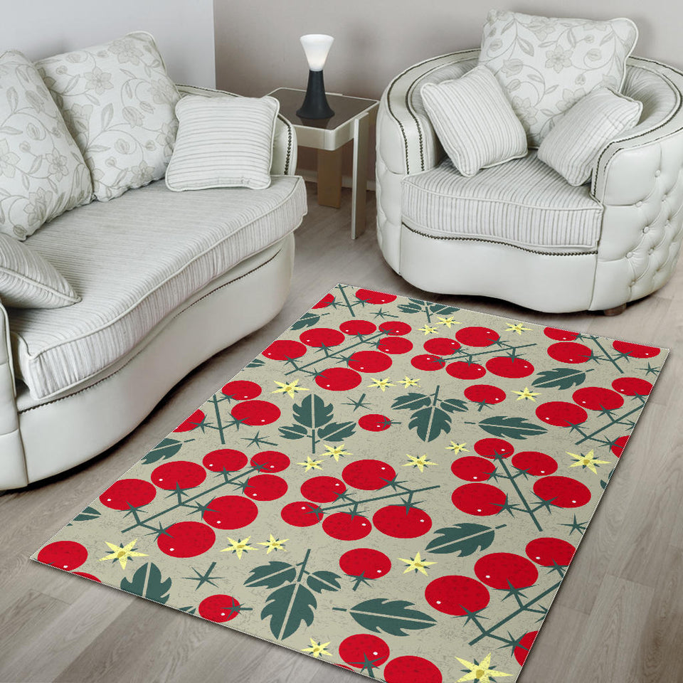 Hand Drawn Tomato Pattern Area Rug