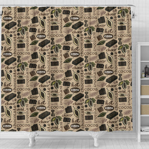 Cocoa Chocolate Pattern Shower Curtain Fulfilled In US