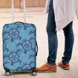 Sea Turtle Blue Tribal Pattern Luggage Covers