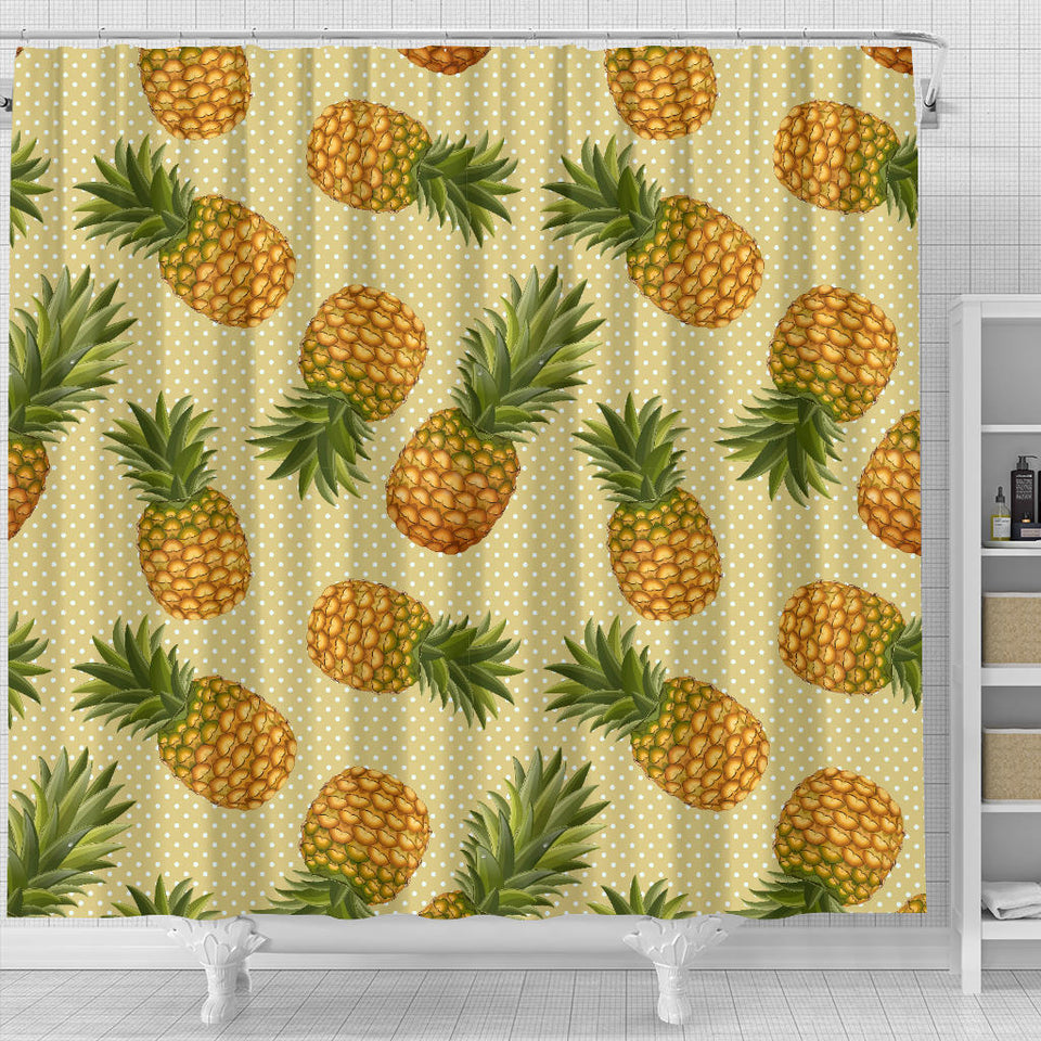 Pineapple Pattern Pokka Dot Background Shower Curtain Fulfilled In US