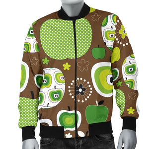 Green Apple Pattern Men Bomber Jacket