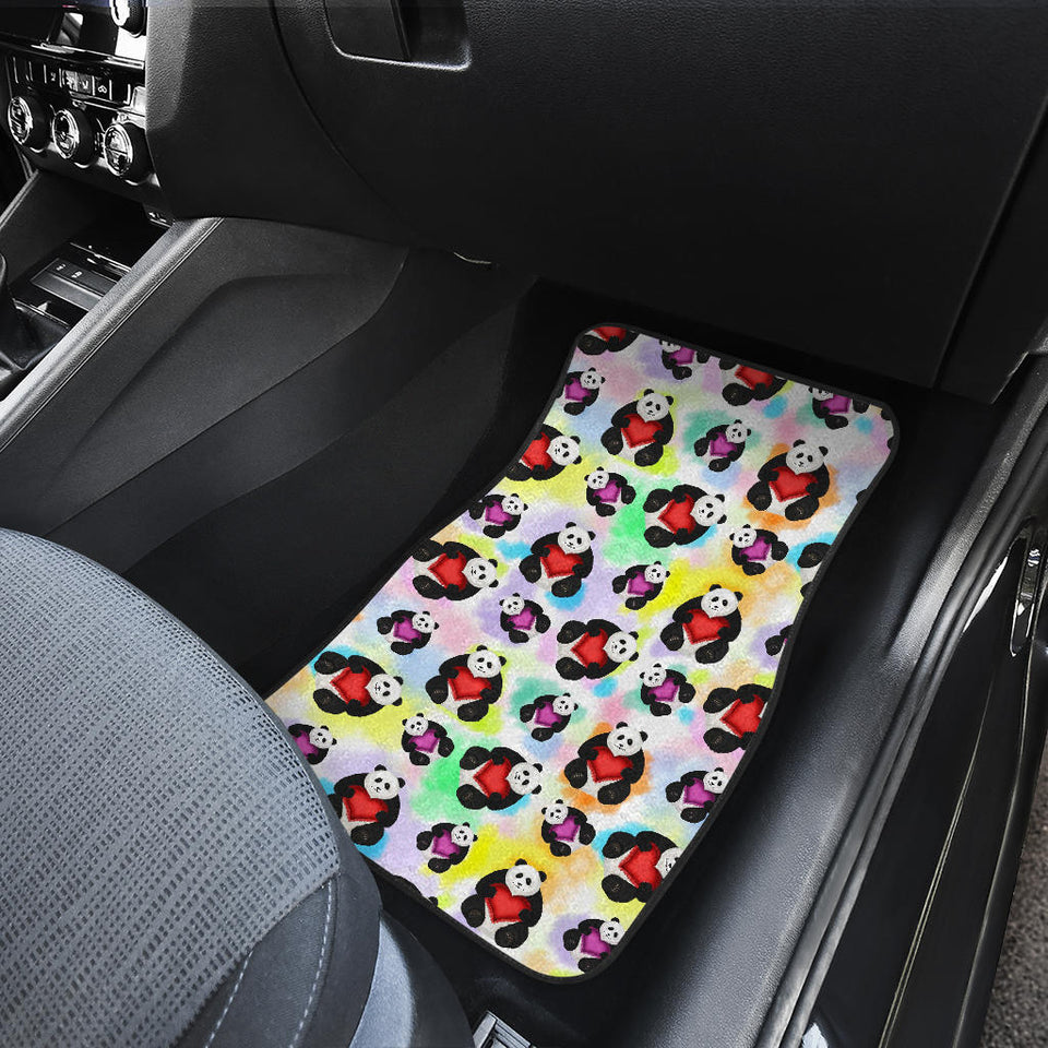 Panda Cute Heart Pattern Front Car Mats