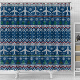 Airplane Sweater printed Pattern Shower Curtain Fulfilled In US