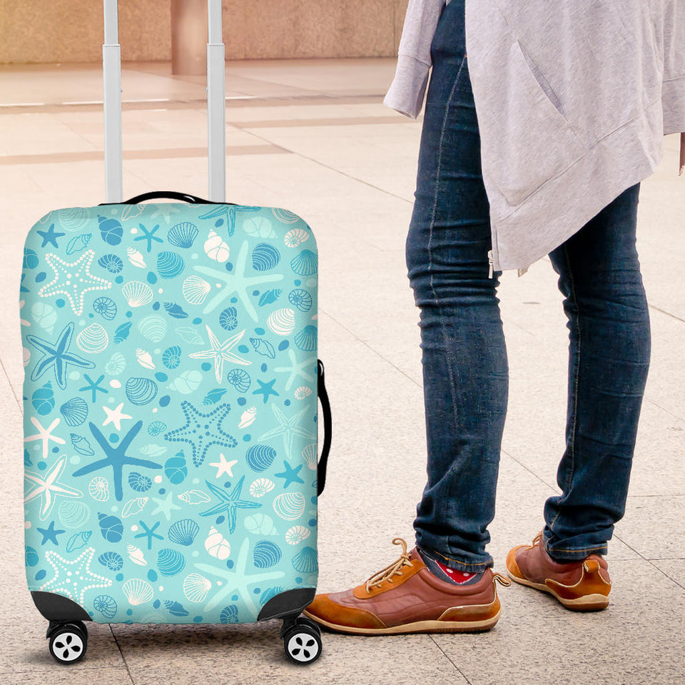 Starfish Shell Blue Theme Pattern Luggage Covers
