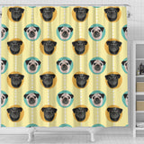 Pug Head Pattern Shower Curtain Fulfilled In US