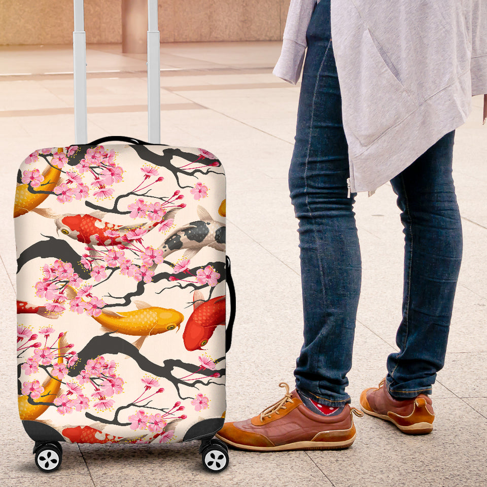 Colorful Koi Fish Carp Fish and Sakura Pattern Luggage Covers