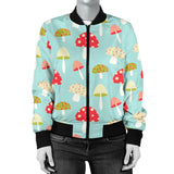 Mushroom Pattern Background Women Bomber Jacket