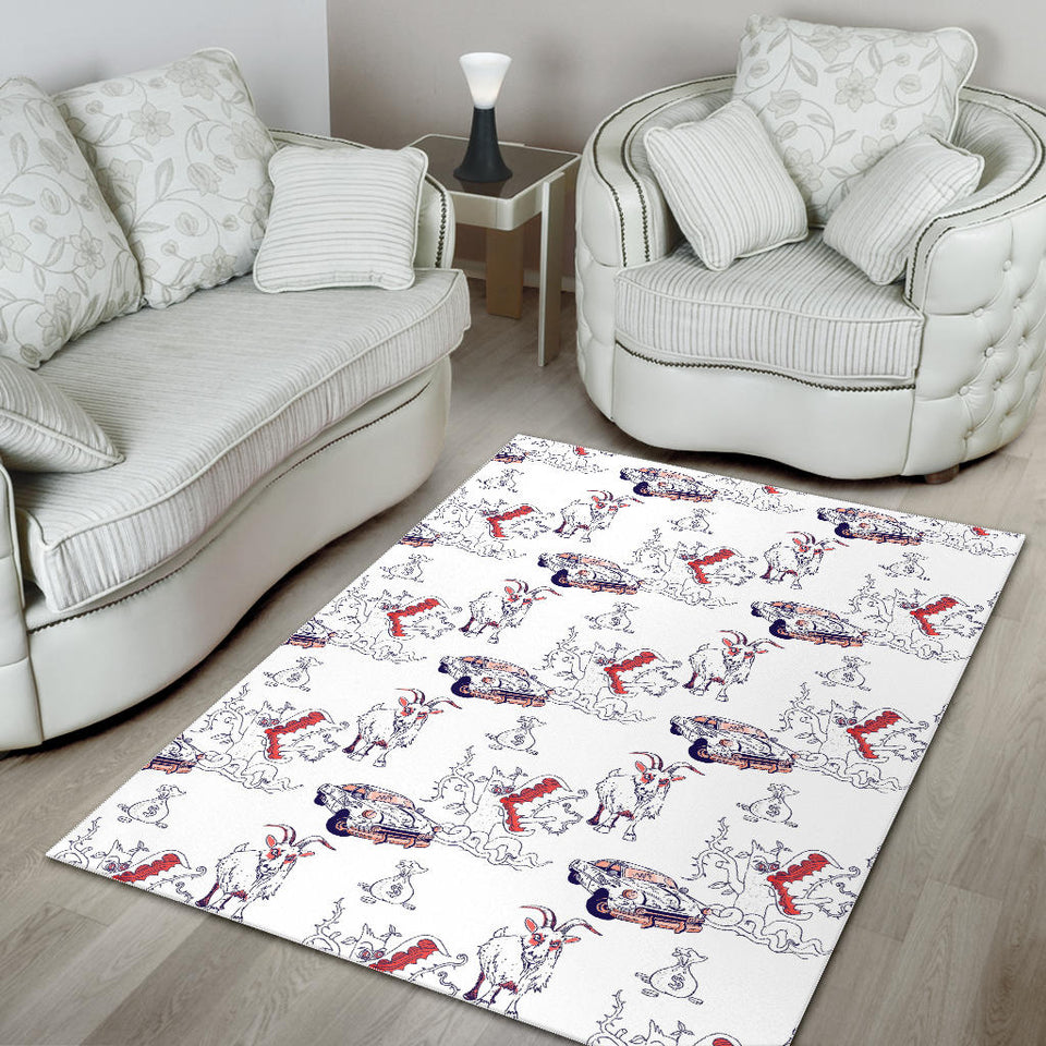 Goat Car Pattern Area Rug