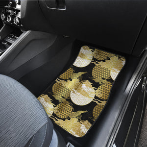 Gold Could Crane Japanese Pattern Front Car Mats