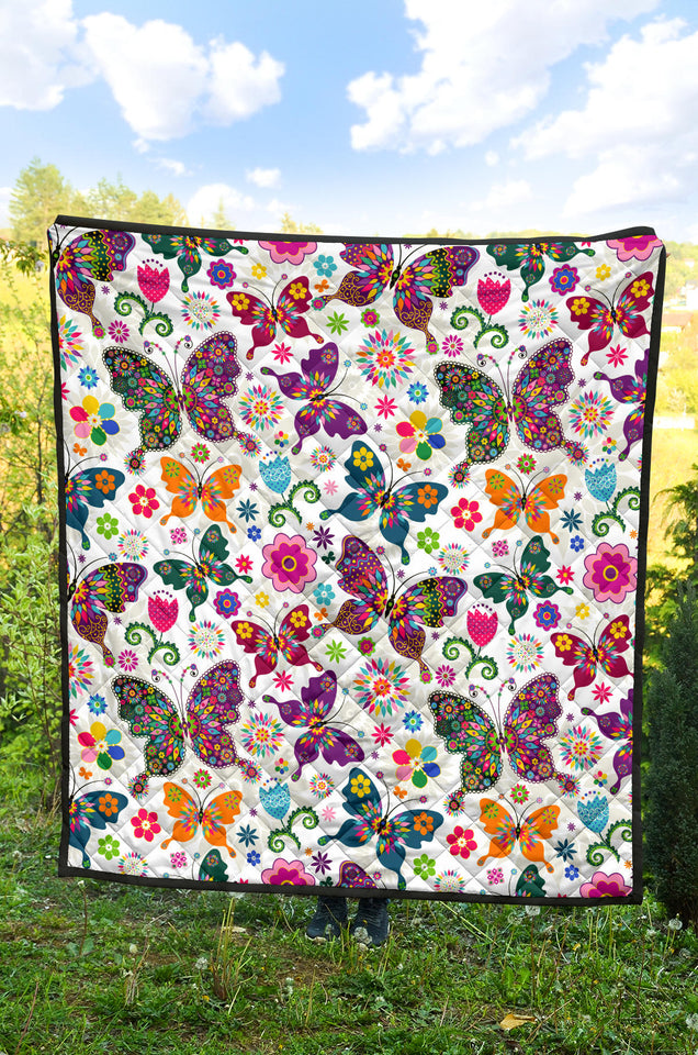Colorful Butterfly Flower Pattern Premium Quilt