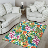 Colorful Peacock Pattern Area Rug