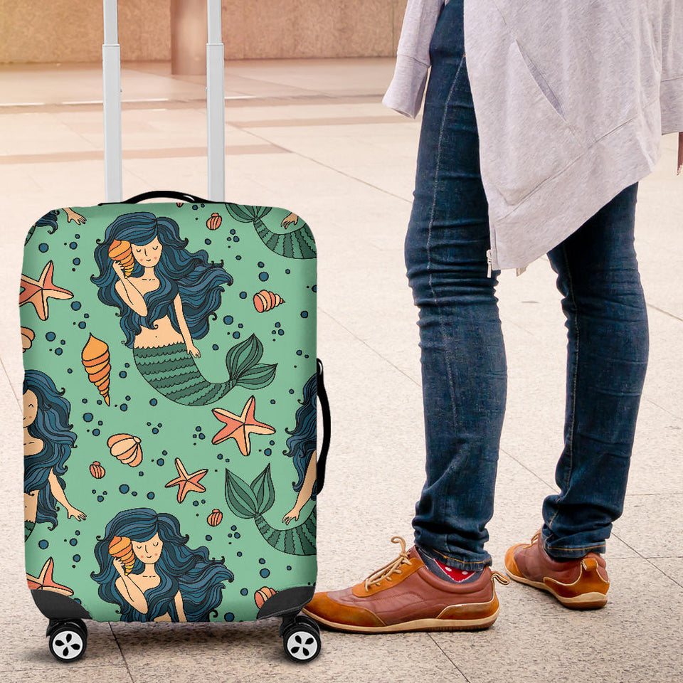 Mermaid Pattern Green Background Luggage Covers