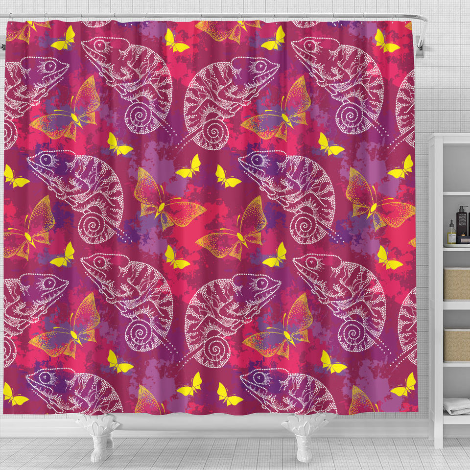 Pink Chameleon Lizard Butterfly Pattern Shower Curtain Fulfilled In US