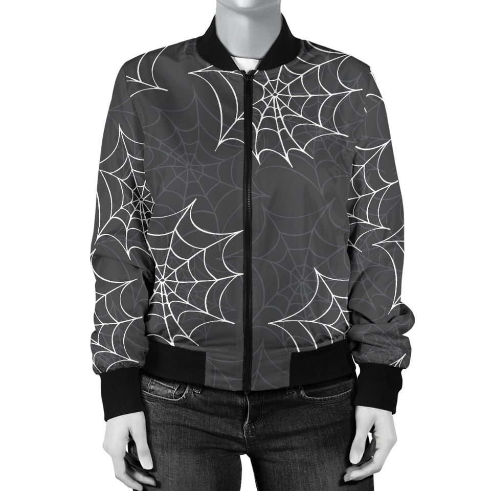 Cobweb Spider Web Pattern Women Bomber Jacket