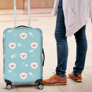 Pomeranian Pattern Blue Background Luggage Covers