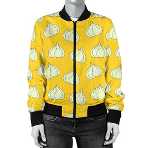 Garlic Pattern Yellow background Women Bomber Jacket