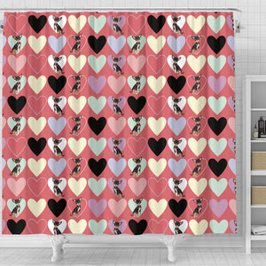 Chihuahua Heart Pink Pattern Shower Curtain Fulfilled In US