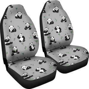 Panda Pattern Background Grey Universal Fit Car Seat Covers