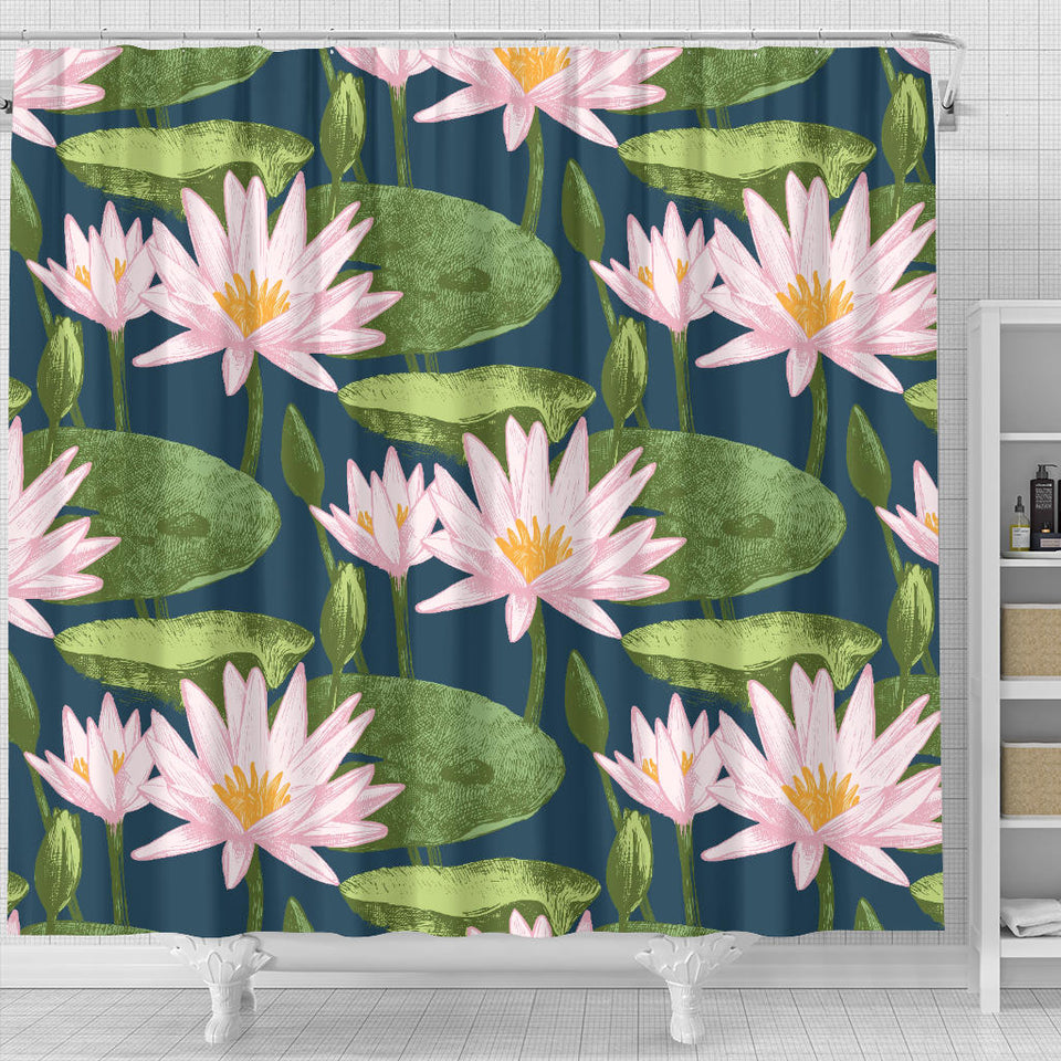 Lotus Waterlily Pattern background Shower Curtain Fulfilled In US