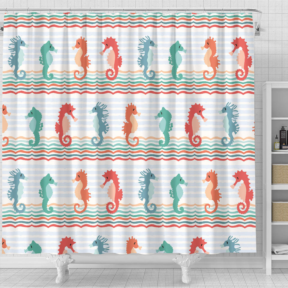Seahorse Pattern Theme Shower Curtain Fulfilled In US
