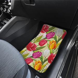 Colorful Tulip Pattern Front Car Mats