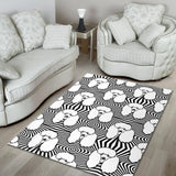 Black and White Poodle Pattern Area Rug